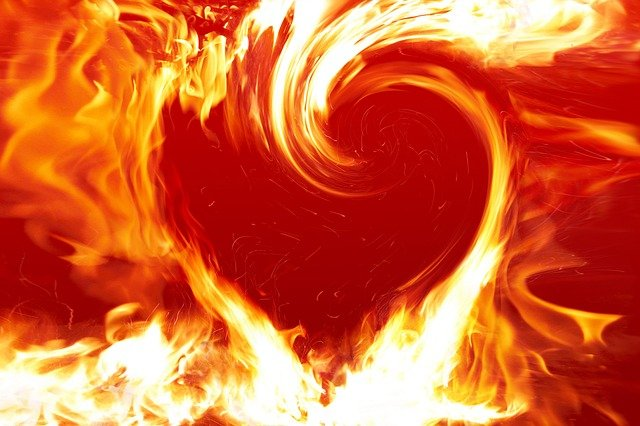 Fire Heart, Heart, Fire, Love, Symbol, Design, Flame