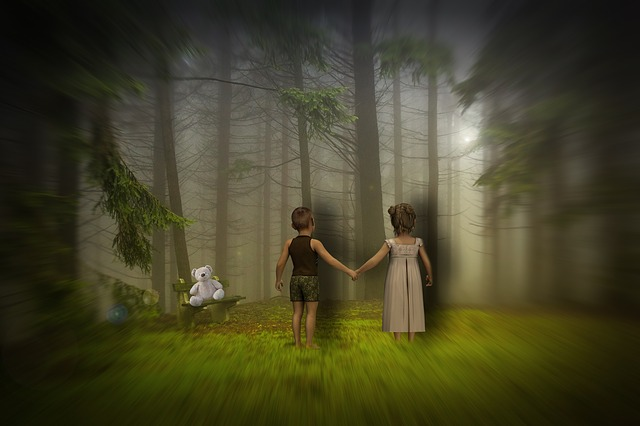 Children, Forest, Sunset, Design, Photoshop, Nature