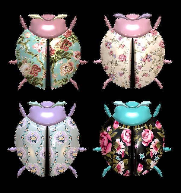 Ladybug, Flower, Pattern, Shabby Chic, Design, Floral