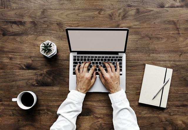 Laptop, Table, Paper, Wood, Desktop, Aerial, Background