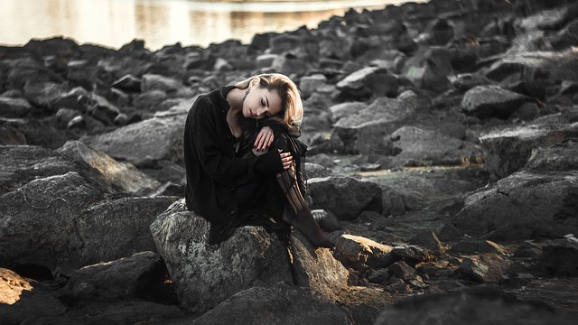 Girl, Sad, The Lone, Beach, Desktop, Black Dress