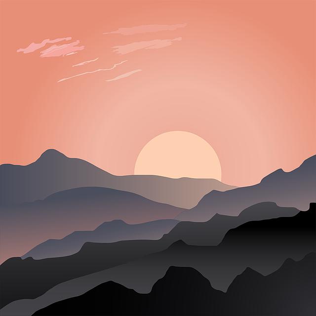 Desolate, Landscape, Mountains, Sunrise, Sunset