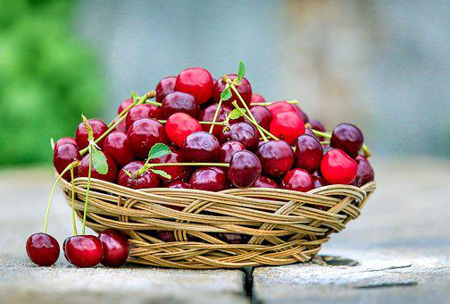Cherry, Basket, Berry, Ripe, Dessert, Sweet, Red