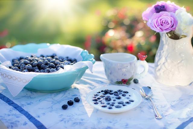 Blueberries, Cream, Dessert, Breakfast, Blueberry, Food