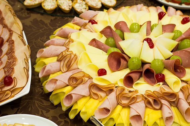 Food, Epicure, Dessert, Plate, Meal, Party, Cheese, Ham