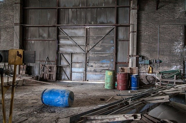Metallic Door, Destruction, Abandoned Factory, Hollow