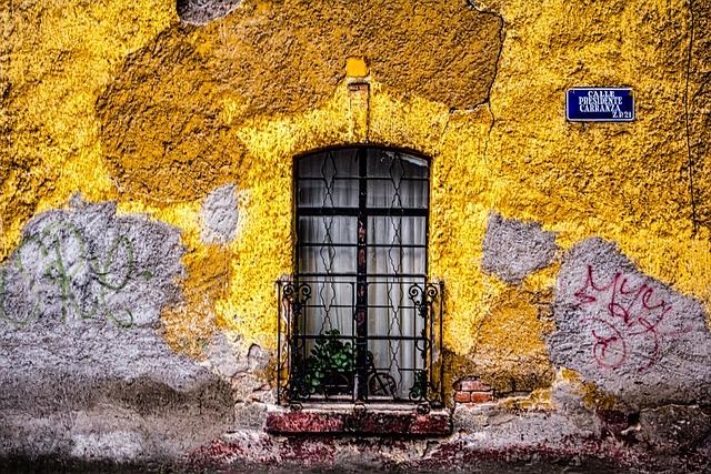Adobe, Blue, City, Colorful, Deteriorated, Graffiti