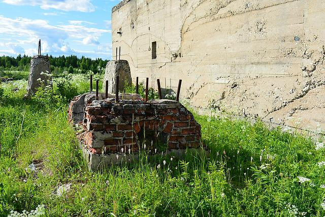 Foundation, Old, German, Oven, Devastation, Grass, Wall