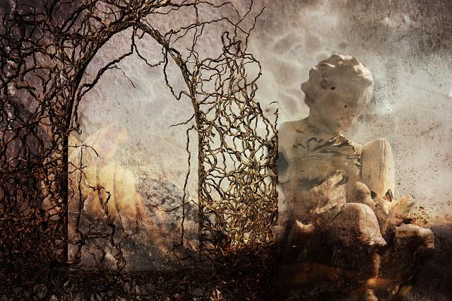 Fantasy, Devastation, Angel, Fire, Dark, Surreal