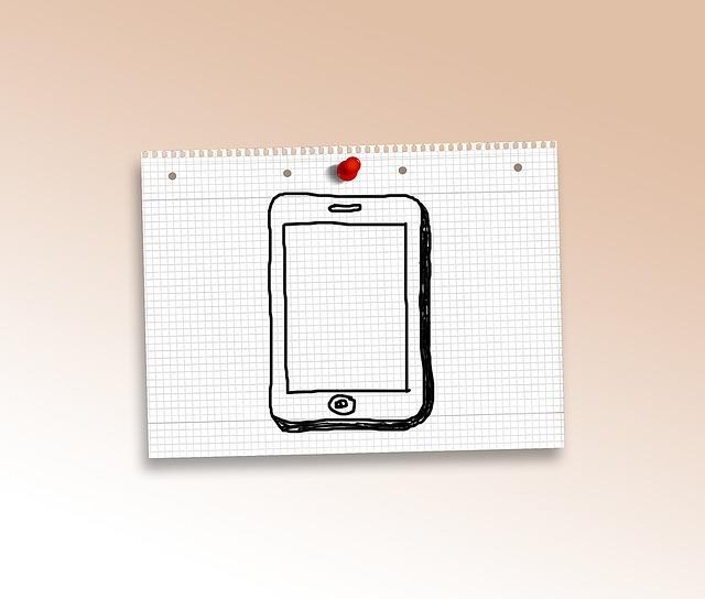 Tablet, Computer, Doodle, Paper, Diamonds, Pin