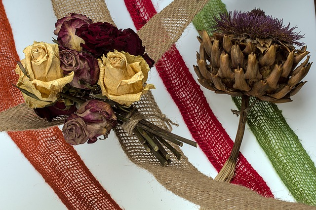 Dried Flowers, Roses, Diestel, Composition