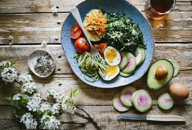 Flat Lay, Food, Salad, Diet, Healthy, Avocado, Fruits