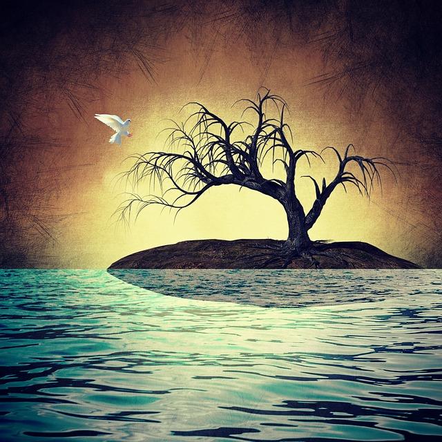 Island, Sea, Fantasy, Lonely, Art, Digiart, Tree, Bird
