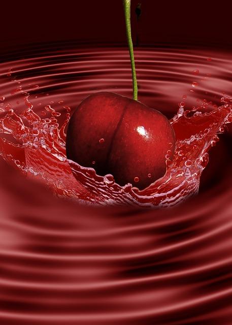 Creative, Digital Art, Splashing, Cherry, Fruit, Red