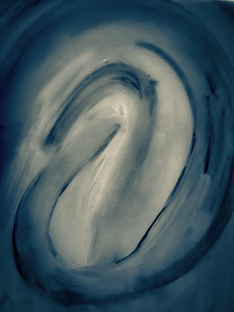 Jennifer Riaz, Abstract Art, Digital Art, Blue, Curves