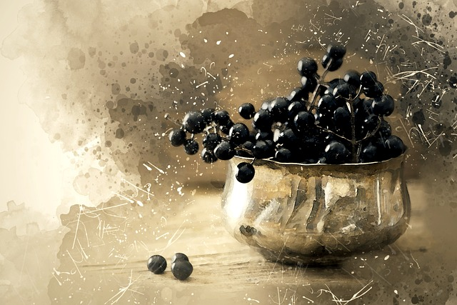 Digital Painting, Bowl, Black, Berries, Digital Art