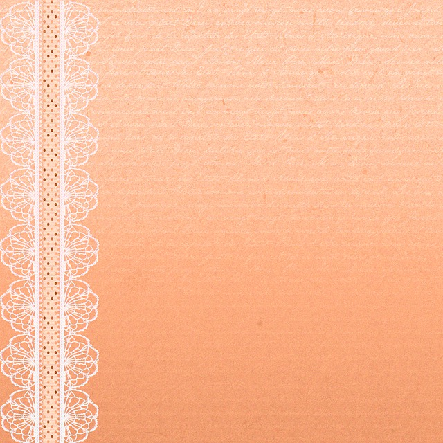 Digital Paper, Peach Color, French Writing, Lace, Peach