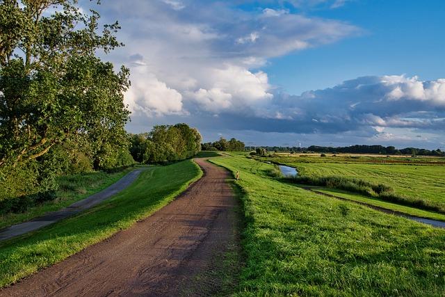 Path, Grass, Dike, Clouds, Northern Germany, Deichweg