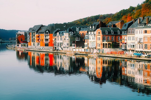 Dinant, Row Houses, Waterfront, Belgium, City, Urban