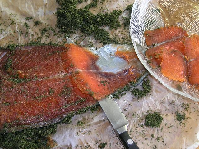 Salmon, Gravlax, Fish, Slices, Cut, Food, Dining, Dill