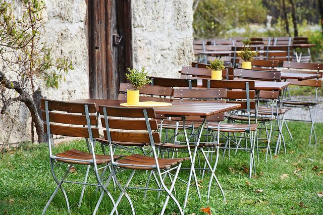 Beer Garden, Chairs, Dining Tables, Leaves, Color, Cozy