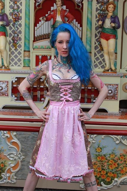 Dirndl, Costume, Punk, Oktoberfest, Tattoo, Model Girl