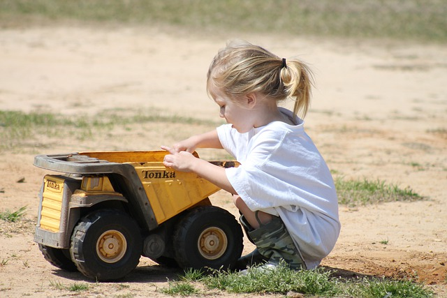 Girl, Child, Playing, Truck, Dirt, Tonka, Outdoors