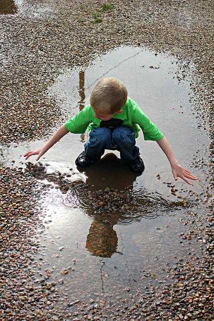 Puddle, Reflection, Water, Rain, Rocks, Dirty, Boy