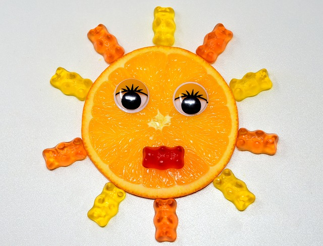Orange, Disc, Sun, Face, Gummibärchen, Delicious, Funny