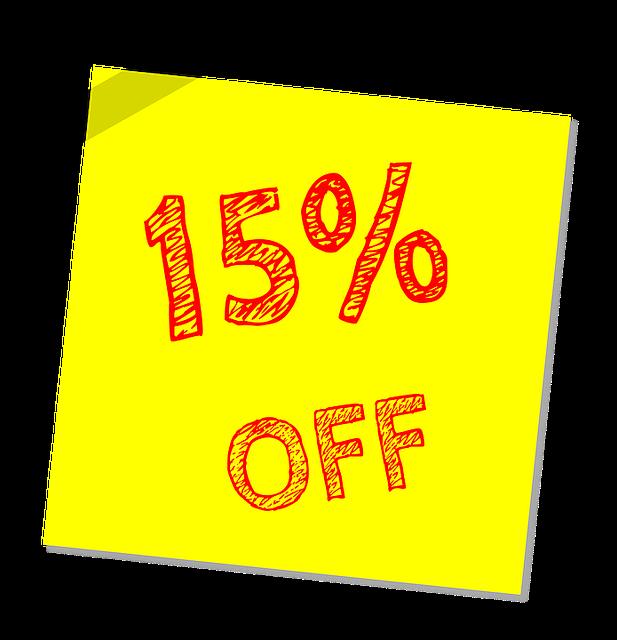 Fifteen Percent Off, Discount, Sale, Offer, Marketing