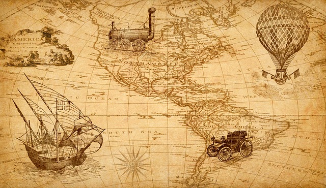 Map, Discovery, America, Ship, Train, Hot Air Balloon