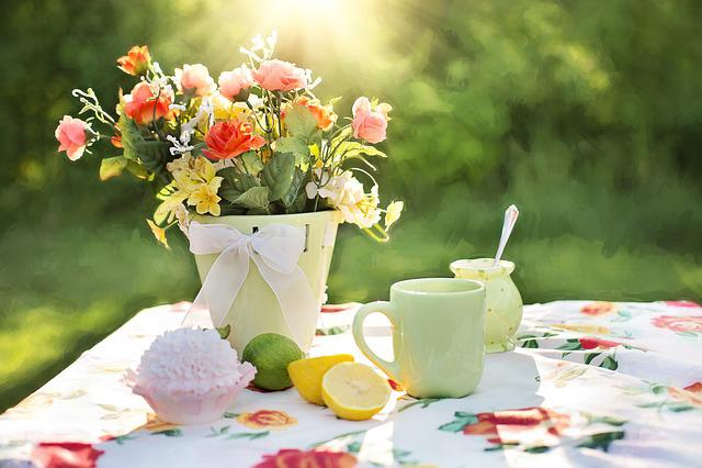 Summer, Still-life, Garden, Outdoors, Flowers, Dish