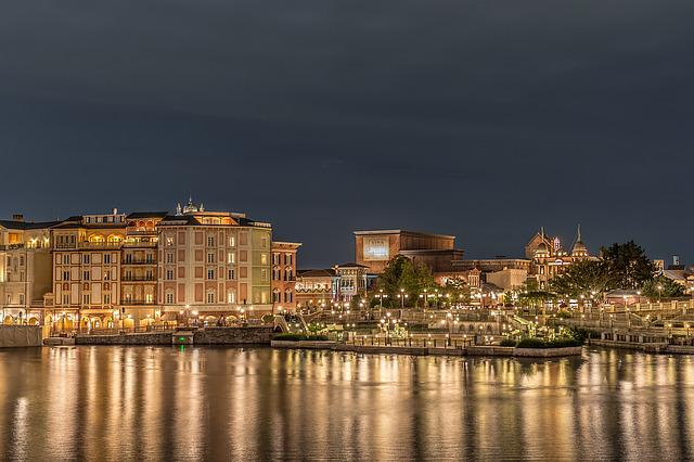 Disney, Disney Sea, Night View, Light, Brilliant, Japan