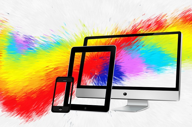 Monitor, Display, Particles, Color, Colorful