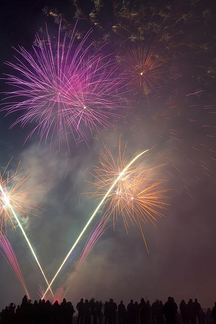 Fireworks, Festive, Display, Pink, Yellow, Celebrations