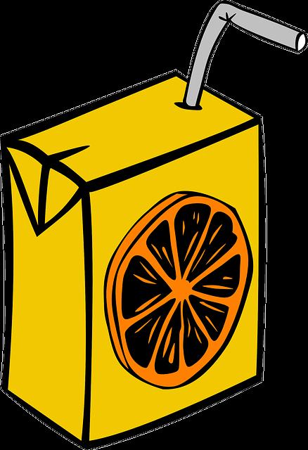 Juice, Box, Carton, Disposable, Straw, Orange, Beverage