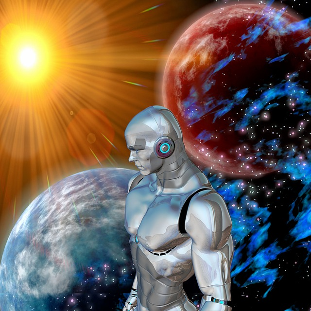 Robot, Sun, Space, Distant, Science Fiction, Utopia