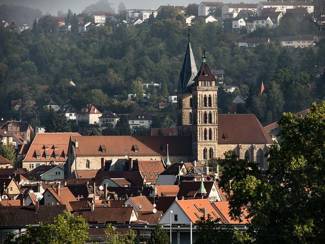 City Church, Esslingen, Fog, Haze, Distant View, Church