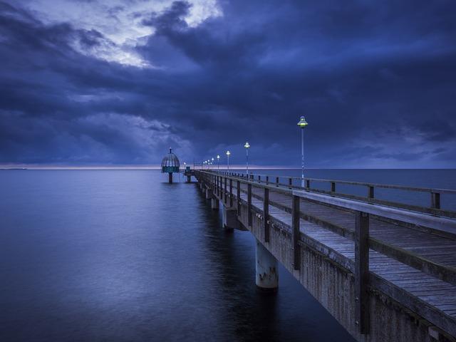 Sea Bridge, Diving Bell, Sea, Blue Hour, Baltic Sea