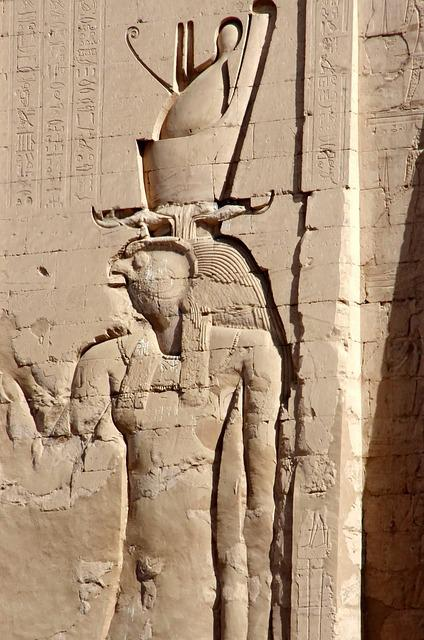 Egypt, Edfu, Temple, Divinity, Double Crown, Horus, Art
