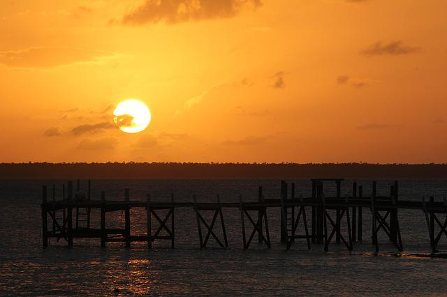 Bahamas, Sunset, Pier, Dock, Sea, Island, Caribbean