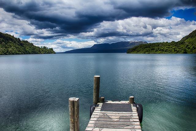 New Zealand, Lake, Web, Kai, Dock, Water, Clouds