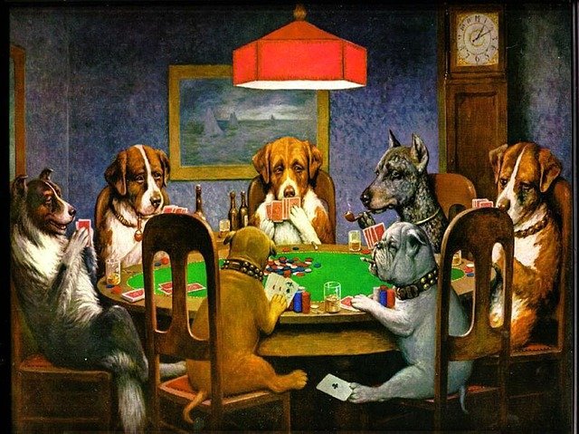 C M Coolidge, Dogs, Canines, Poker, Cards, Humor