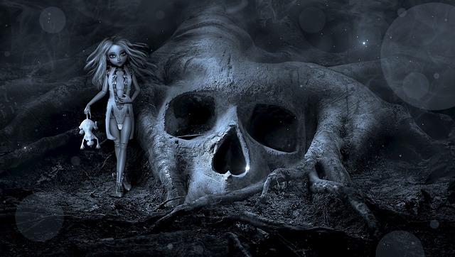 Fantasy, Creepy, Doll, Skull, Root, Mystical, Weird
