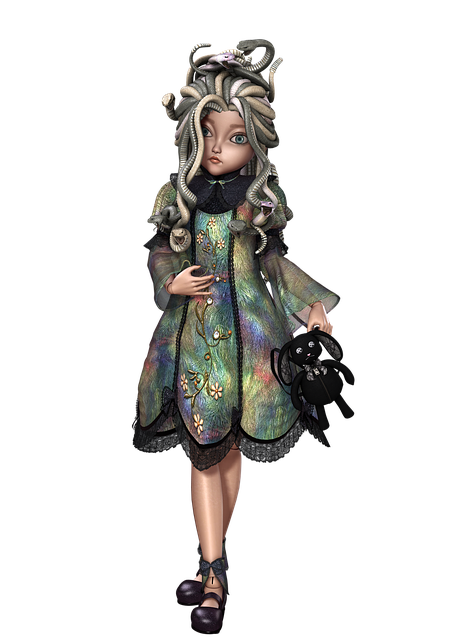 Doll, Girl, Snake, Toy, Pose, 3d, Png