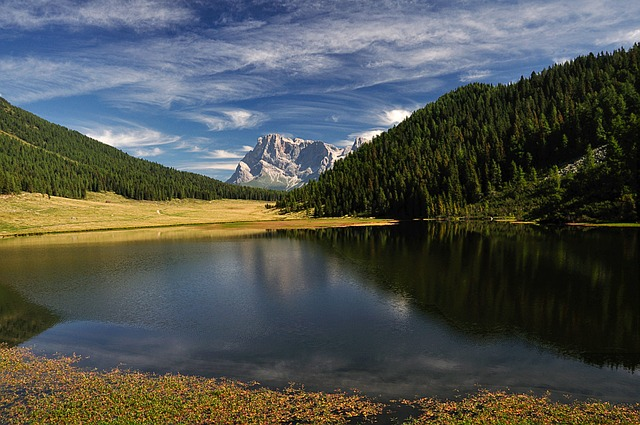 Dolomites, Mountain, Bergsee, Alpine, Nature, Clouds