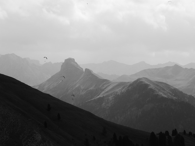 South Tyrol, Dolomites, Paragliders, Black And White