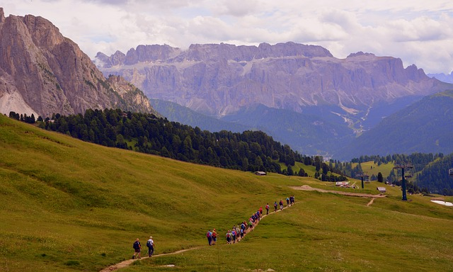 Hiking, Trail, Dolomites, Mountain, Walk, Group