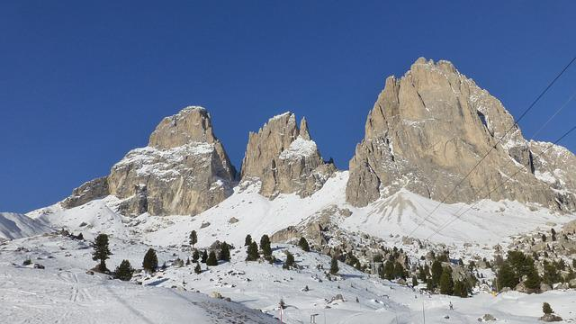 Dolomites, Sassolungo, Italy, Mountains, Snow, Panorama