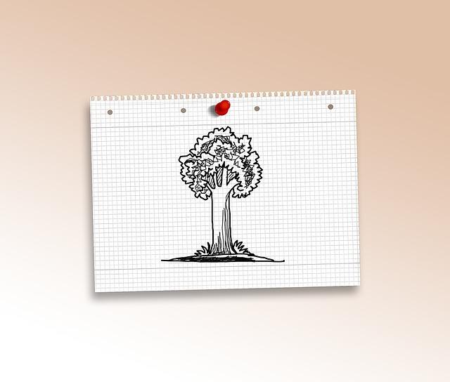 Doodle, Tree, Green, Paper, Diamonds, Pin